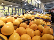 Supermarket week end shopping. Bucharest, Romania, December 26, 2015: A man chooses grapefruits in a supermarket in Bucharest Royalty Free Stock Photo