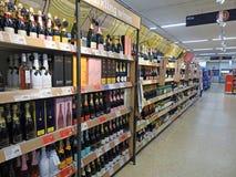 Supermarket wine alcohol isle stock image