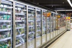 Supermarket z półkami jedzenie Merkur w Austria i napoje Obraz Royalty Free
