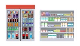 Supermarketa i półek Plakatowa Wektorowa ilustracja royalty ilustracja