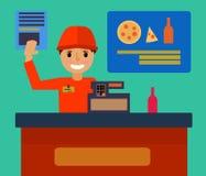 Supermarketa sklepu kontuaru biurka wyposażenie i kasjera urzędnik w jednolitym Płaskim projekcie, wektorowa ilustracja royalty ilustracja
