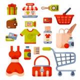 Supermarketa sklepu spożywczego zakupy kreskówki retro ikony ustawiać z klientami furmanią kosza handlu i jedzenia produkty odizo Obraz Stock