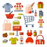 Supermarketa sklepu spożywczego zakupy kreskówki retro ikony ustawiać z klientami furmanią kosza handlu i jedzenia produkty odizo Fotografia Stock