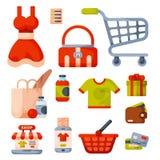 Supermarketa sklepu spożywczego zakupy kreskówki retro ikony ustawiać z klientami furmanią kosza handlu i jedzenia produkty odizo Zdjęcia Royalty Free