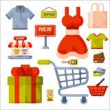 Supermarketa sklepu spożywczego zakupy kreskówki retro ikony ustawiać z klientami furmanią kosza handlu i jedzenia produkty odizo Fotografia Royalty Free