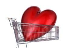 Supermarketa tramwaj z dużym czerwonym błyszczącym sercem wśrodku go Zdjęcia Royalty Free