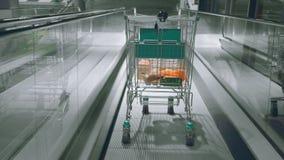 Supermarketa tramwaj z jedzenie puszkiem eskalator podziemny parking zbiory