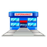 Supermarketbyggnad på den vita vektorn Arkivbilder