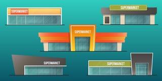 Supermarketbyggnadsuppsättning Fotografering för Bildbyråer