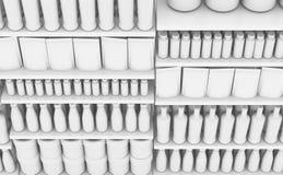 Supermarkethylla med generiska produkter vektor illustrationer