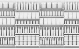 Supermarkethylla med generiska produkter royaltyfri illustrationer