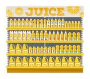 Supermarkethyllaskärm med orange fruktsaft royaltyfri illustrationer