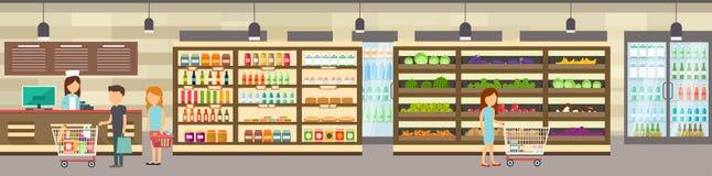 Supermarketlager med gods Stor köpcentrum Arkivfoton