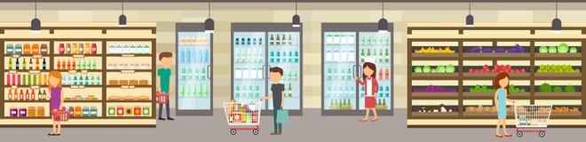 Supermarketlager med gods Stor köpcentrum vektor illustrationer