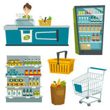 Supermarketobjektuppsättning, vektortecknad filmillustration royaltyfri fotografi