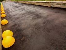 Supermarketparkering efter regn royaltyfria foton