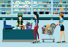 Supermarkets. Women spend money shopping in the supermarket royalty free illustration
