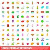 100 supermarketsymboler uppsättning, tecknad filmstil Royaltyfri Fotografi