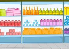 Supermarkettecknad film Arkivbild