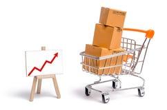 Supermarketvagn med askar och en graf med den röda pilen, varor: begreppet av att köpa och att sälja varor och tjänst royaltyfria foton