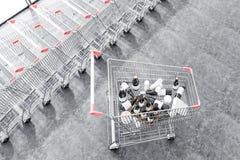 Supermarketvagn med bästa sikt för vinflaskor vektor illustrationer