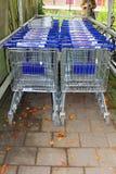 Supermarketvagnar av det Aldi supermarketlagret, Nederländerna Arkivbilder