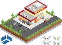 Supermarktäußeres Der Supermarkt mit Parken und Warenkörben Lizenzfreies Stockbild