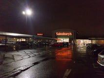 Supermarkt bij nacht Stock Afbeelding