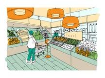 Supermarkt binnenlandse hand getrokken kleurrijke illustratie Kruidenierswinkelopslag, plantaardige afdeling stock illustratie