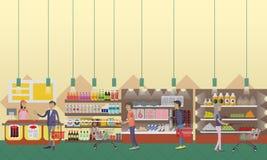 Supermarkt binnenlandse vectorillustratie in vlakke stijl De klanten kopen producten in voedselopslag stock illustratie
