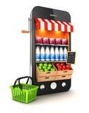 Supermarkt 3d Smartphone Lizenzfreie Stockfotos