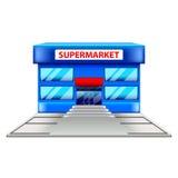 Supermarkt die op witte vector voortbouwen Stock Afbeeldingen