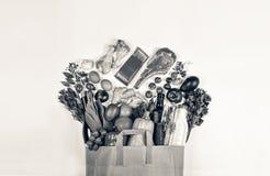 Supermarkt, Document zak, gezond voedsel, wijn, voedsel, rundvlees stock foto's