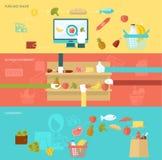 Supermarkt-Fahnen-Satz Lizenzfreie Stockfotos