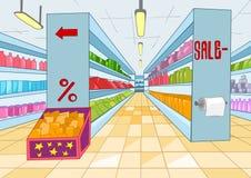 Supermarkt-Karikatur Stockfoto