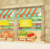 Supermarkt kleurrijke hand getrokken schets royalty-vrije stock foto's