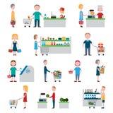 Supermarkt-Leute-Satz Lizenzfreies Stockfoto