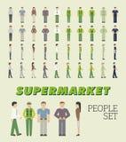 Supermarkt-Leute-Satz Stock Abbildung