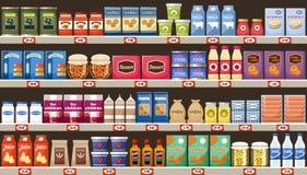 Supermarkt, planken met producten en dranken royalty-vrije illustratie