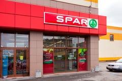 Supermarkt SPAR ist eine internationale Einzelhandelskette und ein Vorrecht stockfotos