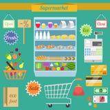 Supermarkt vlakke reeks vector illustratie