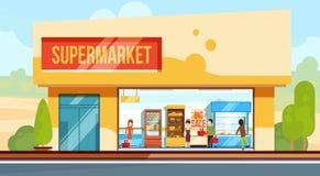 Supermarkt in vooraanzicht met winkelende mensen in controlelijn Verkopersmedewerkers Vectorillustratie in vlakke stijl stock illustratie