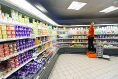 Supermarktbinnenland Stock Foto