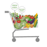 Supermarktboodschappenwagentje Royalty-vrije Stock Foto's