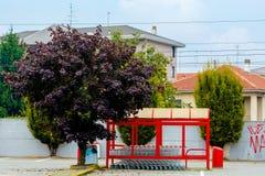 Supermarktboodschappenwagentjes die rode kleur parkeren Italië royalty-vrije stock afbeeldingen