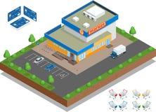 Supermarktbuitenkant De supermarkt met parkeren en boodschappenwagentjes Detailhandel Creditcard s Vector vlakke 3d Royalty-vrije Stock Afbeelding