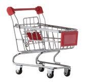 Supermarktkarretje op witte achtergrond wordt geïsoleerd die 3D geproduceerd beeld Stock Afbeelding