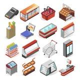 Supermarktmateriaal en binnenlandse bedrijfsontwerpreeks Stock Afbeeldingen