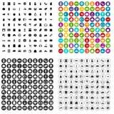 100 supermarktpictogrammen geplaatst vectorvariant Royalty-vrije Stock Foto's