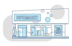 Supermarktschaukasten und Anzeigenillustration, dünne Linie Art Lizenzfreie Stockfotos